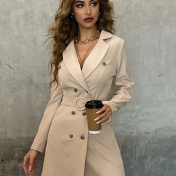 Double Breasted Belted Lapel Collar Blazer Dress   SHEIN