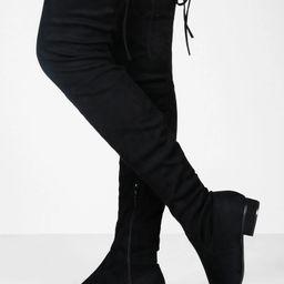 Flat Tie Back Thigh High Boots | Boohoo.com (US & CA)