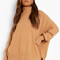 Oversized Turtle Neck Knitted Sweater | Boohoo.com (US & CA)