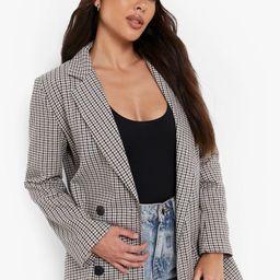 Tonal Check Double Breasted Longline Blazer | Boohoo.com (US & CA)