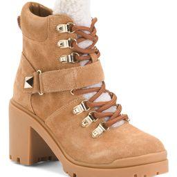 Leather Sherpa Heeled Hiker Boots | TJ Maxx