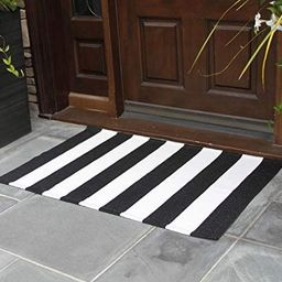 NANTA Black and White Striped Rug 27.5 x 43 Inches Cotton Woven Washable Outdoor Rugs for Farmhou...   Amazon (US)