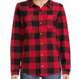 Time and Tru Women's Knit Cozy Button Front Shirt | Walmart (US)