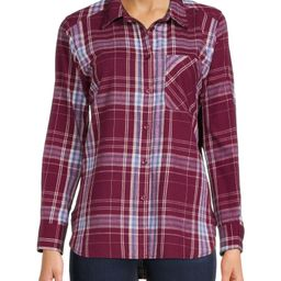 Time and Tru Women's Plaid Button Front Shirt | Walmart (US)