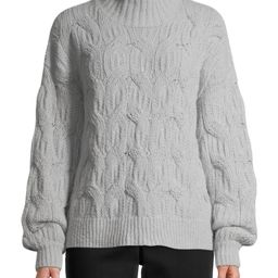 Time and Tru Women's Mockneck Cable Knit Sweater | Walmart (US)