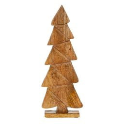 Holiday Time Nature's Noel Brown Carved Wood Christmas Tree Decoration, 15-inch - Walmart.com | Walmart (US)