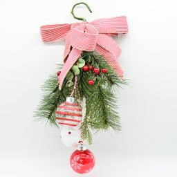 Holiday Time Red & White Wall Decoration with Bow & Greenery, Decorative Accent Ornament, Ribbon ...   Walmart (US)