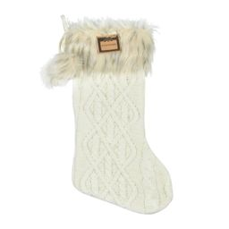 """Holiday Time Cream Classic Cable Knit with Faux Leopard Fur Cuff 20"""" Stocking - Walmart.com 