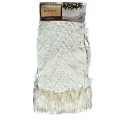 """Holiday Time Cream Classic Cable Knit with Faux Leopard Fur 56""""Dia Tree Skirt - Walmart.com 