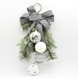 Holiday Time Black & White Christmas Hanging Decoration with Bow, Decorative Accent Ornament, Rib... | Walmart (US)