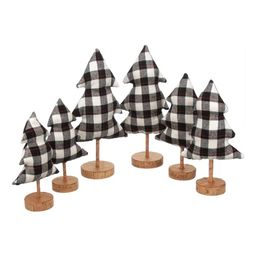 Holiday Time Christmas Plaid Fabric Tree Table Top Decorations in Black and Off-White, Set of 6 -... | Walmart (US)