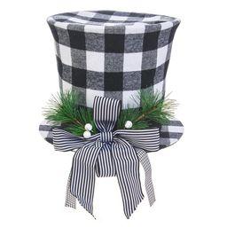 Holiday Time Christmas Black and White Plaid Top Hat Christmas Tree Topper - Walmart.com | Walmart (US)