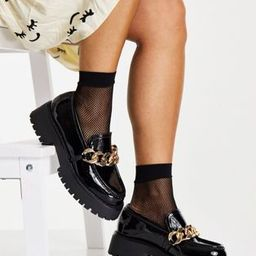 ASOS DESIGN Mai chunky chain loafers in black patent | ASOS (Global)