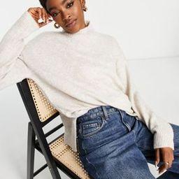 Topshop soft knit jumper with funnel neck in oat | ASOS (Global)