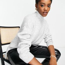 Topshop soft knit jumper with funnel neck in grey marl | ASOS (Global)