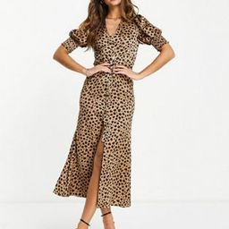 Never Fully Dressed Lindos button maxi dress in leopard print | ASOS (Global)