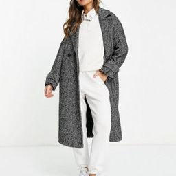 River Island oversized double breasted maxi coat in black | ASOS (Global)