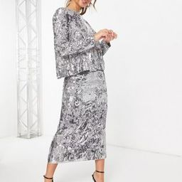 ASOS EDITION mirrored cat sequin midi skirt | ASOS (Global)