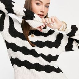 Only kaitlin long sleeve striped knitted jumper in black and white   ASOS (Global)