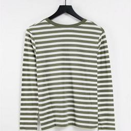 Selected Femme organic cotton t-shirt with long sleeves in khaki stripe | ASOS (Global)