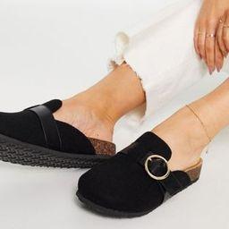 ASOS DESIGN Musa footbed closed toe flat shoes in black | ASOS (Global)