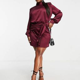 ASOS DESIGN Curve high neck mini dress with sash waist detail in wine | ASOS (Global)