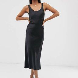 ASOS DESIGN scoop neck midi satin slip dress in black   ASOS (Global)