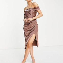 Jarlo Royalty midi dress with side split and bardot shoulder in mink   ASOS (Global)