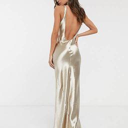 ASOS DESIGN scoop back bias cut satin maxi dress in champagne   ASOS (Global)