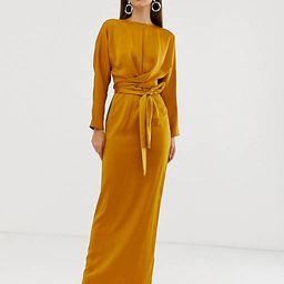 ASOS DESIGN satin maxi dress with batwing sleeve and wrap waist in mustard   ASOS (Global)