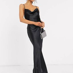 ASOS DESIGN cami maxi slip dress in high shine satin with lace up back in black   ASOS (Global)