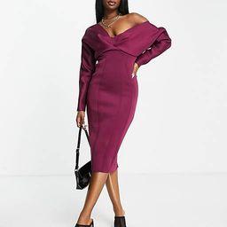 ASOS DESIGN fallen shoulder super seamed pencil skirt midi dress in berry | ASOS (Global)
