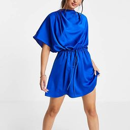 ASOS DESIGN high neck satin mini dress with ruched dress and button detail in blue | ASOS (Global)