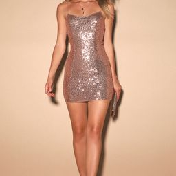 Bring It Rose Gold Sequin Bodycon Mini Dress | Lulus (US)