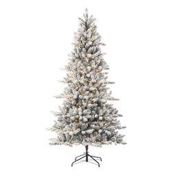 Holiday Time 7.5ft Pre-Lit Flocked Birmingham Fir Artificial Christmas Tree, Warm White LED, Gree... | Walmart (US)