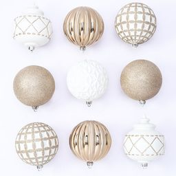 Holiday Time 100 mm Shatterproof Christmas Ornaments, Champagne Gold & White, 9 Count - Walmart.c... | Walmart (US)