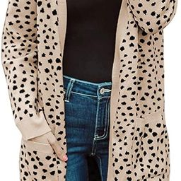 MEROKEETY Women's Open Front Knit Cardigan Winter Fall Sweater Dots Long Sleeve Coat Outwear | Amazon (US)