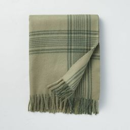 Open Plaid Fringe Throw Blanket Tonal Green - Hearth & Hand™ with Magnolia | Target