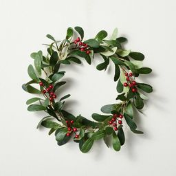 """12.5"""" Mini Faux Mistletoe Plant Wreath with Red Berries - Hearth & Hand™ with Magnolia 