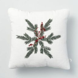"""14"""" x 14"""" Foliage Snowflake Decor Throw Pillow Red/Green - Hearth & Hand™ with Magnolia 