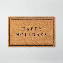 Happy Holidays Bordered Coir Doormat Tan/Black - Hearth & Hand™ with Magnolia | Target