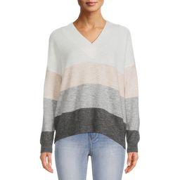Dreamers by Debut Women's Striped V-Neck Sweater - Walmart.com   Walmart (US)