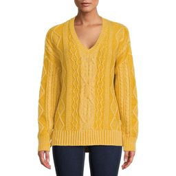 Time and Tru Women's Cable Sweater with V-Neck - Walmart.com   Walmart (US)