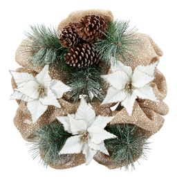 Holiday Time 20-inch Pine Straw Christmas Wreath, Christmas Poinsettia - Walmart.com | Walmart (US)