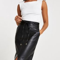 Black faux leather midi skirt   River Island (UK & IE)