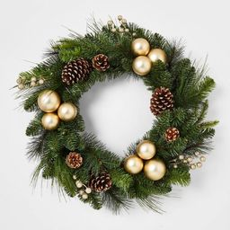 28in Artificial Wreath Champagne Clustered Shatterproof Ornaments with Pinecones and Gold Berries...   Target