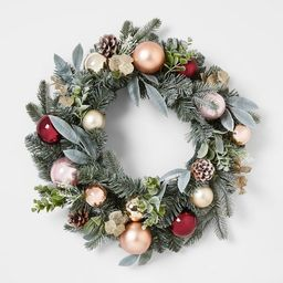 22in Mixed Artificial Pine Christmas Wreath with Shatterproof Ornaments Gold, Burgundy & Blus...   Target