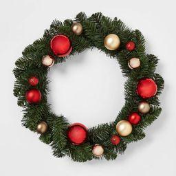 22in Unlit Pine with Shatterproof Ornaments Artificial Wreath Red/Gold  - Wondershop™   Target