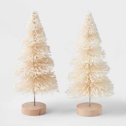 2pk Glitter Bottle Brush Christmas Tree Set Natural - Wondershop™   Target