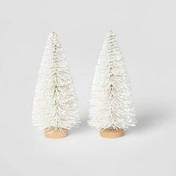 2pk Bottle Brush Christmas Tree Set Decorative Figurine White - Wondershop™   Target